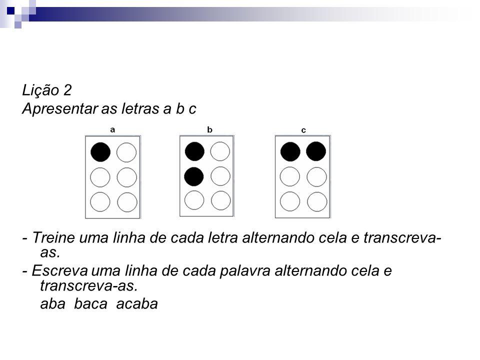 Lição 2 Apresentar as letras a b c. - Treine uma linha de cada letra alternando cela e transcreva-as.