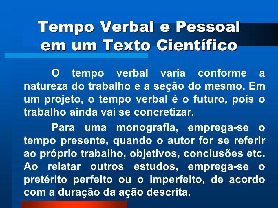 Tempo Verbal e Pessoal em um Texto Científico