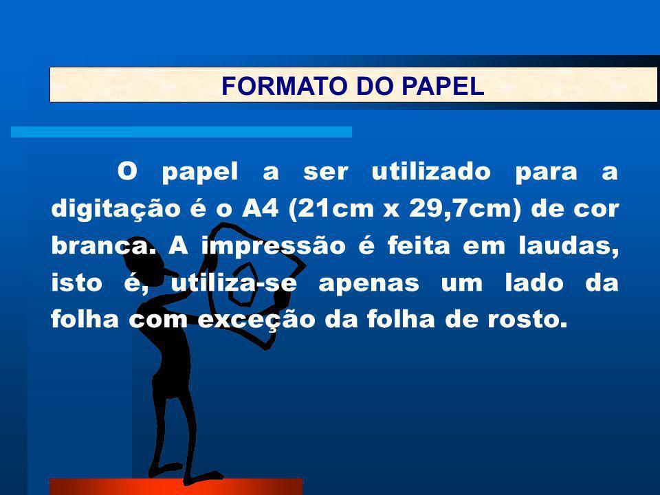 FORMATO DO PAPEL