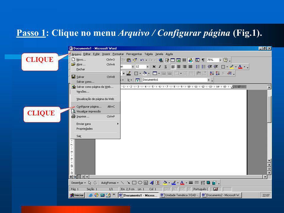 Passo 1: Clique no menu Arquivo / Configurar página (Fig.1).