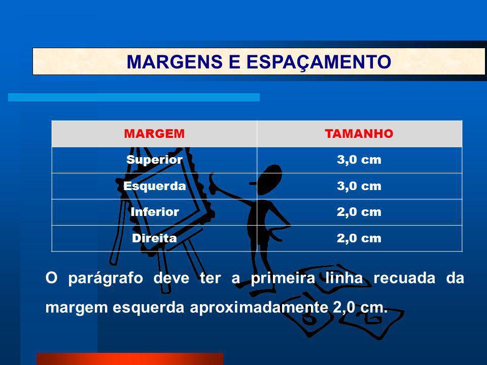 MARGENS E ESPAÇAMENTO MARGEM. TAMANHO. Superior. 3,0 cm. Esquerda. Inferior. 2,0 cm. Direita.