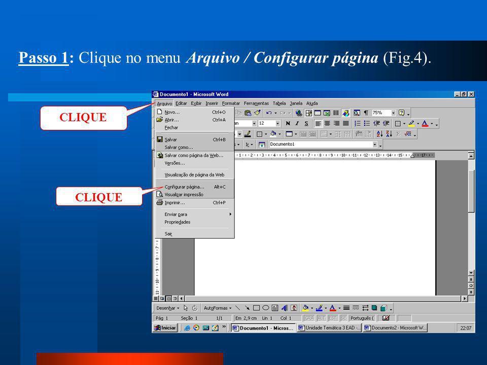 Passo 1: Clique no menu Arquivo / Configurar página (Fig.4).