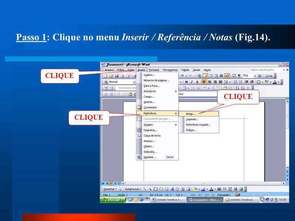 Passo 1: Clique no menu Inserir / Referência / Notas (Fig.14).
