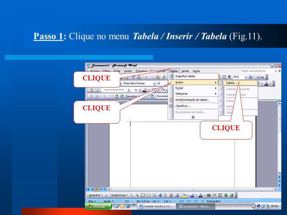 Passo 1: Clique no menu Tabela / Inserir / Tabela (Fig.11).