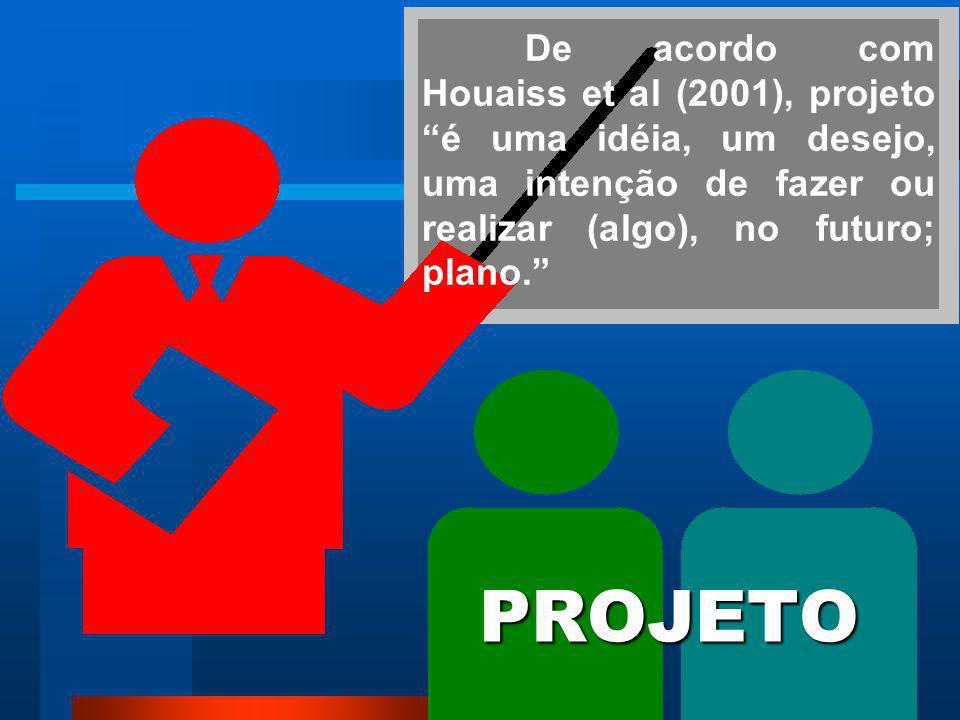 De acordo com Houaiss et al (2001), projeto é uma idéia, um desejo, uma intenção de fazer ou realizar (algo), no futuro; plano.