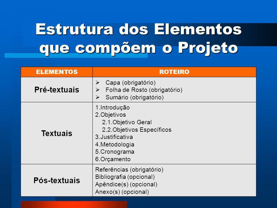 Estrutura dos Elementos que compõem o Projeto
