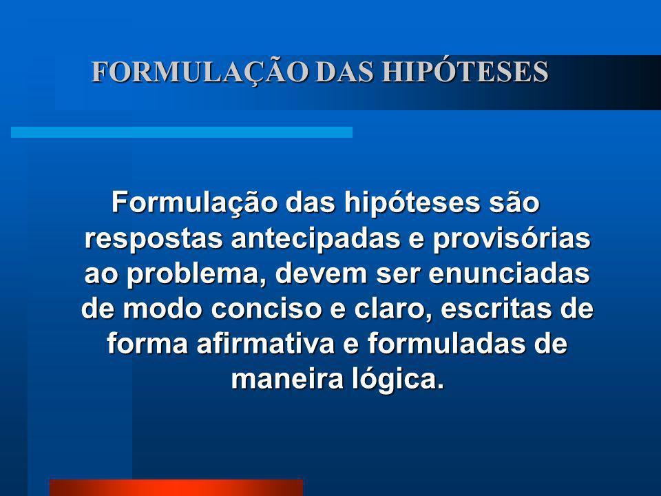 FORMULAÇÃO DAS HIPÓTESES