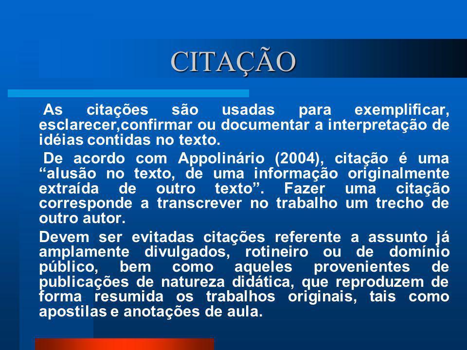 CITAÇÃO As citações são usadas para exemplificar, esclarecer,confirmar ou documentar a interpretação de idéias contidas no texto.
