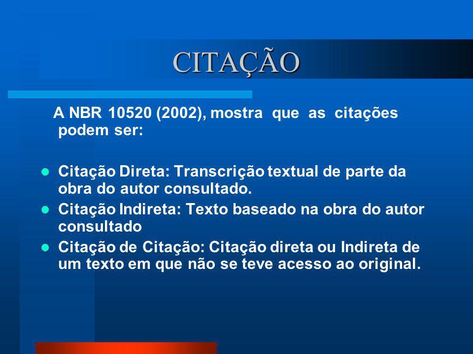CITAÇÃO A NBR 10520 (2002), mostra que as citações podem ser: