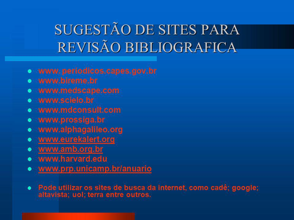 SUGESTÃO DE SITES PARA REVISÃO BIBLIOGRAFICA
