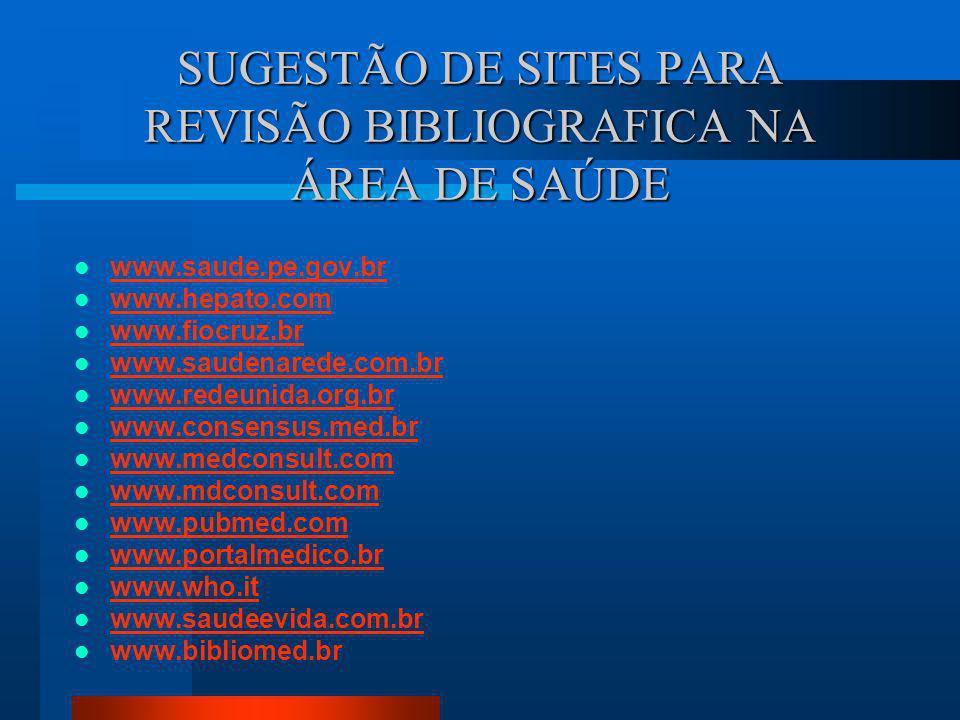 SUGESTÃO DE SITES PARA REVISÃO BIBLIOGRAFICA NA ÁREA DE SAÚDE