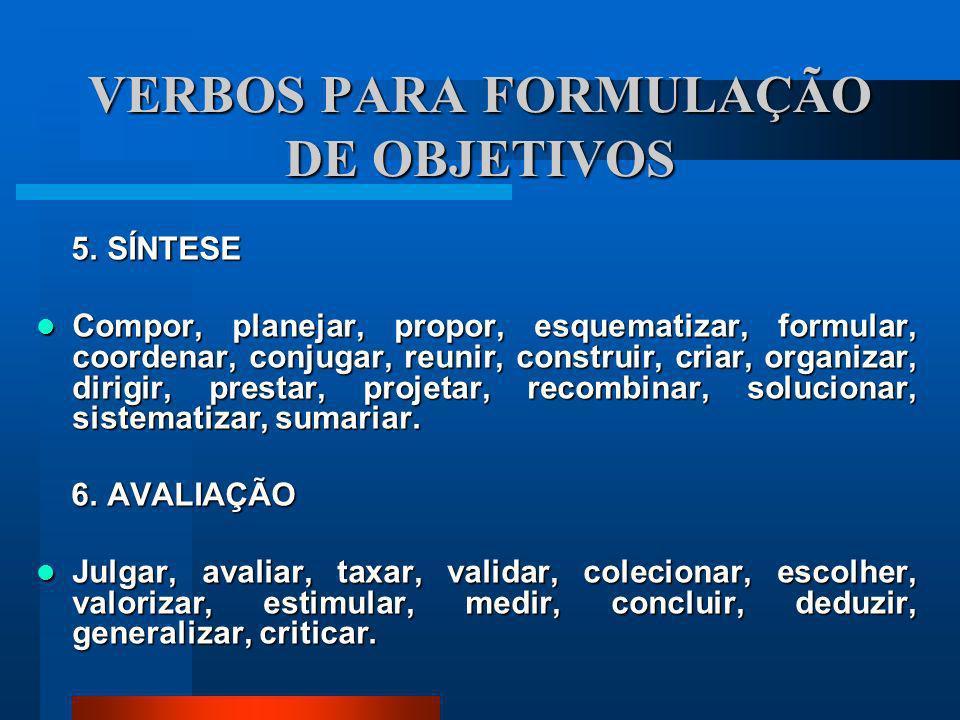 VERBOS PARA FORMULAÇÃO DE OBJETIVOS