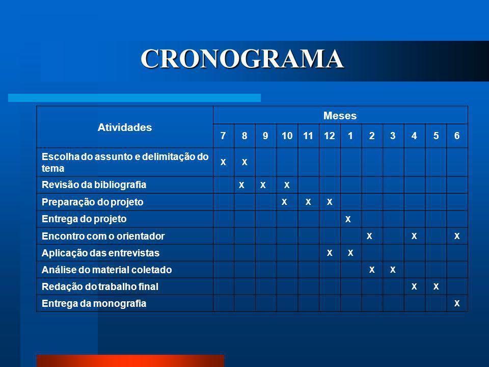 CRONOGRAMA Atividades Meses 7 8 9 10 11 12 1 2 3 4 5 6