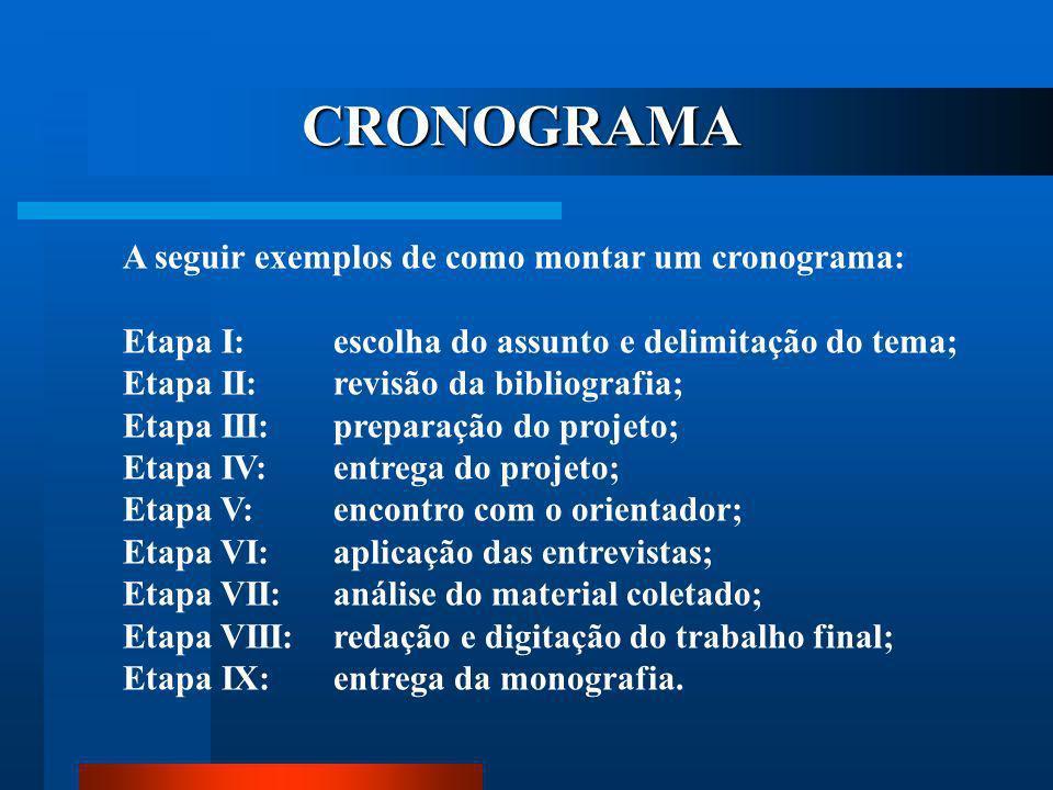 CRONOGRAMA A seguir exemplos de como montar um cronograma: