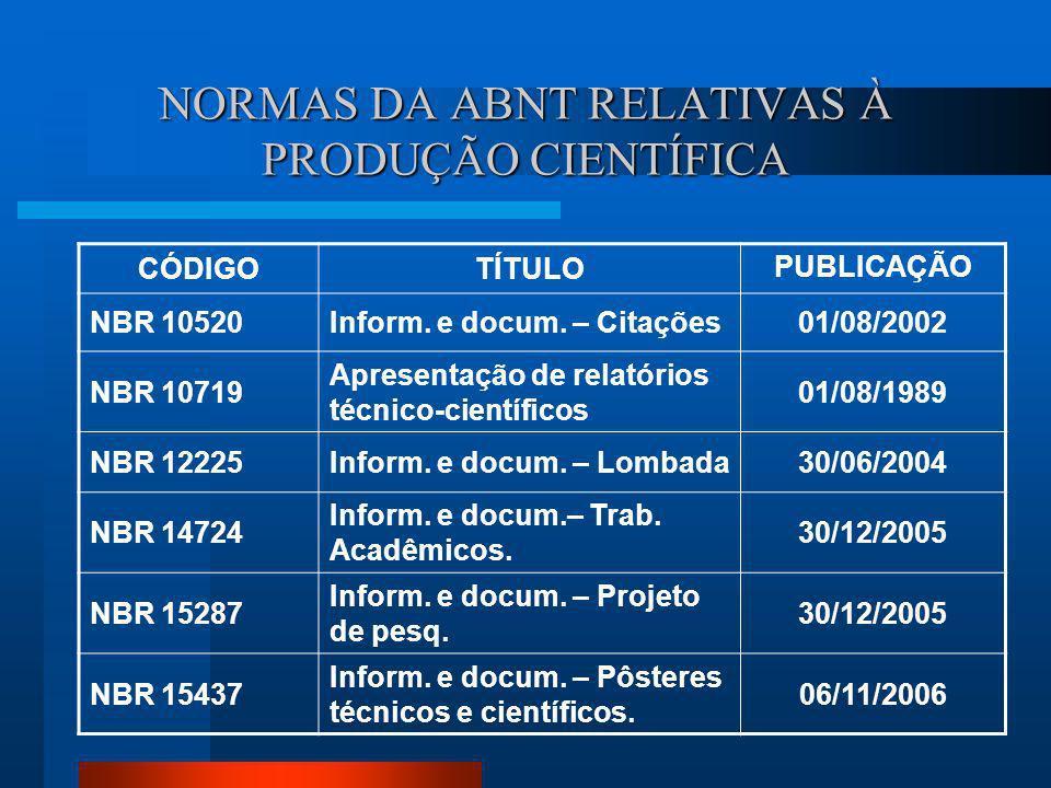 NORMAS DA ABNT RELATIVAS À PRODUÇÃO CIENTÍFICA