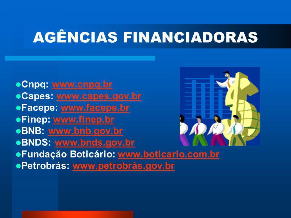 AGÊNCIAS FINANCIADORAS