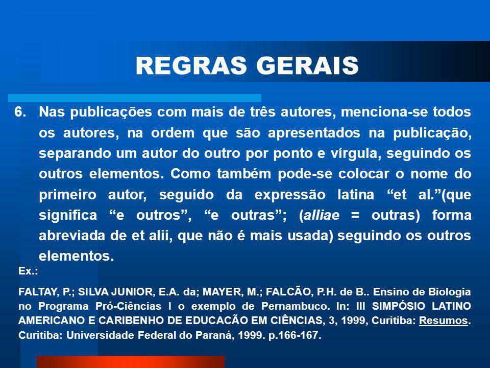 REGRAS GERAIS
