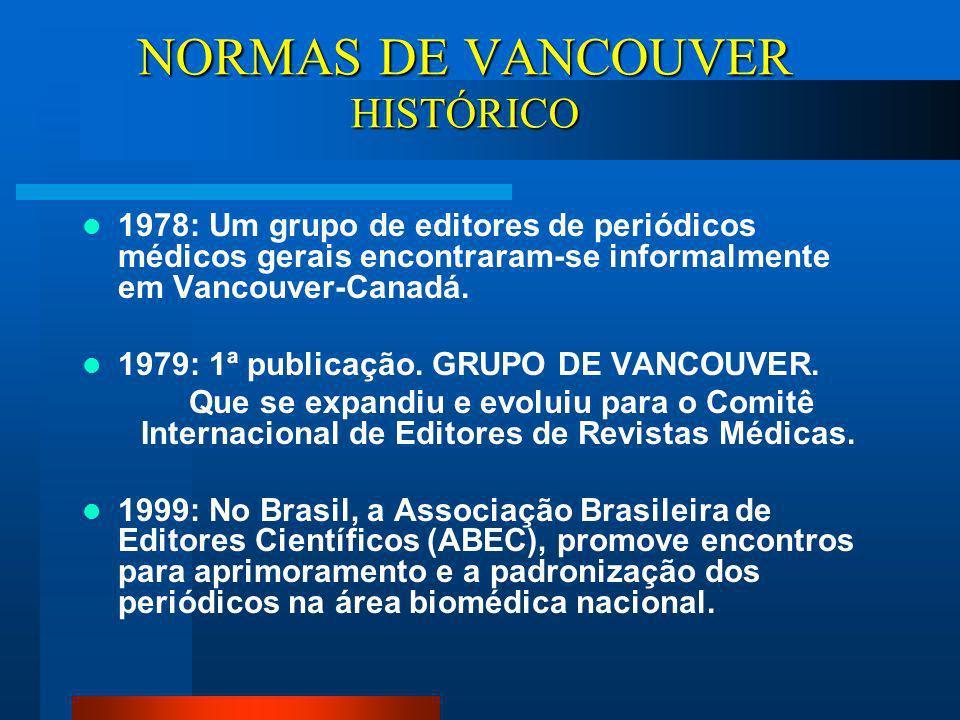 NORMAS DE VANCOUVER HISTÓRICO