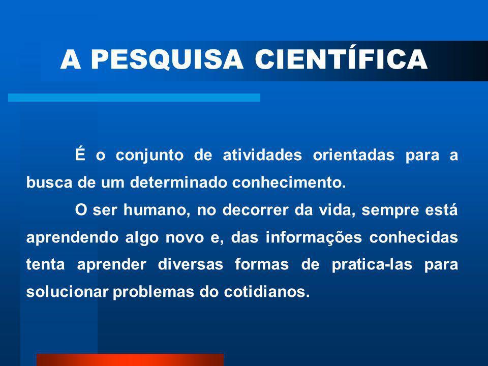 A PESQUISA CIENTÍFICA É o conjunto de atividades orientadas para a busca de um determinado conhecimento.