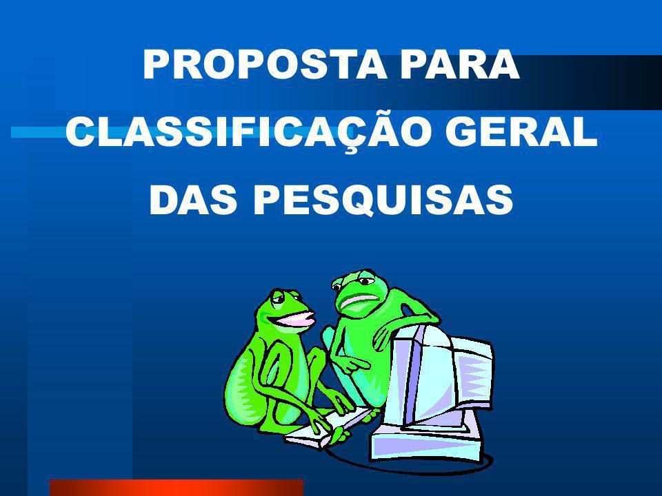 PROPOSTA PARA CLASSIFICAÇÃO GERAL DAS PESQUISAS