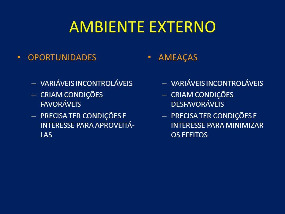 AMBIENTE EXTERNO OPORTUNIDADES AMEAÇAS VARIÁVEIS INCONTROLÁVEIS