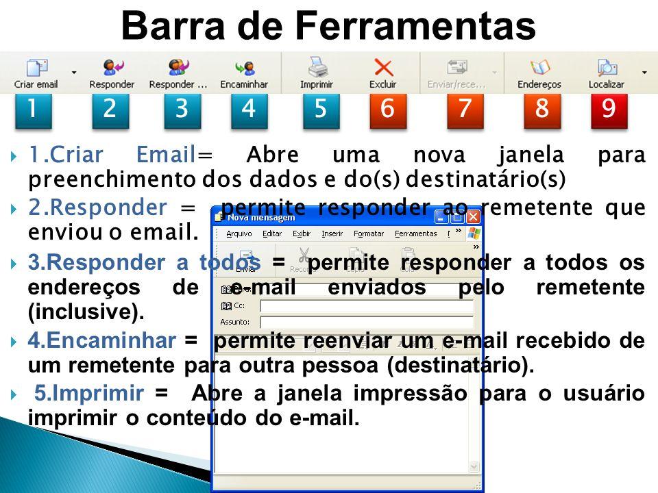 Barra de Ferramentas 1. 2. 3. 4. 5. 6. 7. 8. 9. 1.Criar Email= Abre uma nova janela para preenchimento dos dados e do(s) destinatário(s)