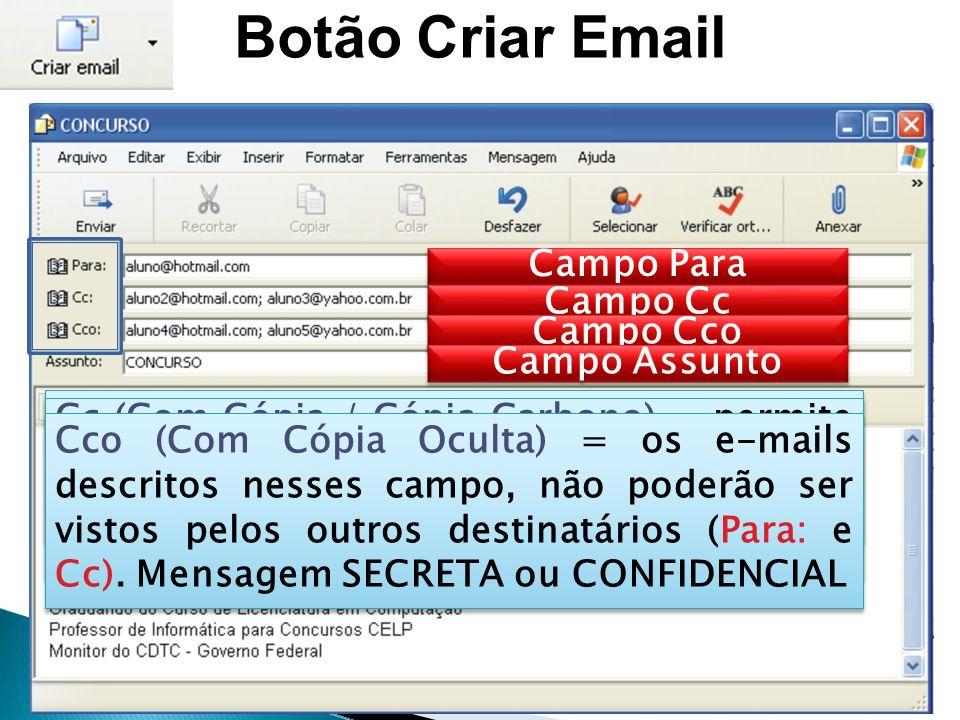 Botão Criar Email Campo Para Campo Cc Campo Cco Campo Assunto