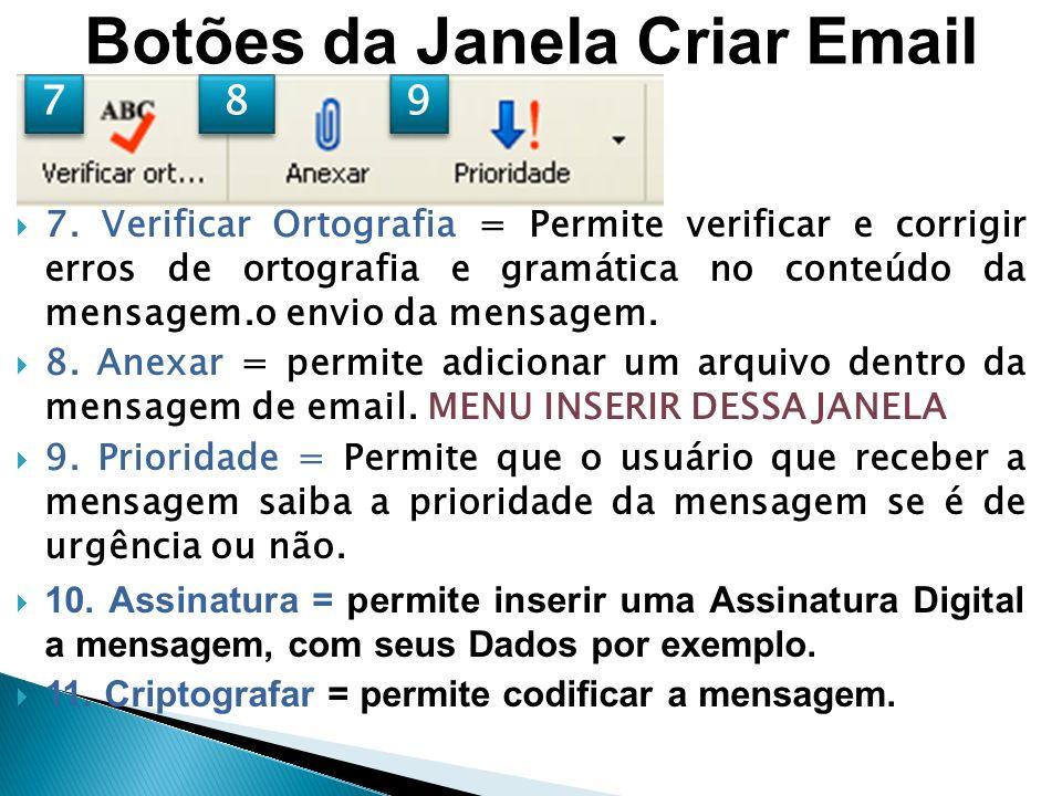 Botões da Janela Criar Email
