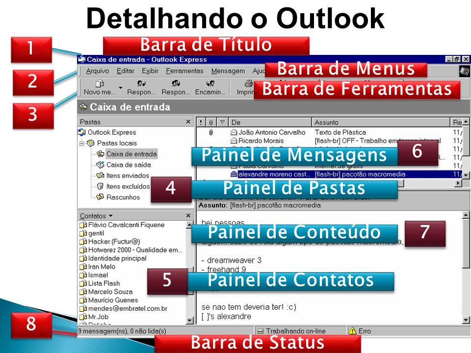 Detalhando o Outlook Barra de Título 1 Barra de Menus 2