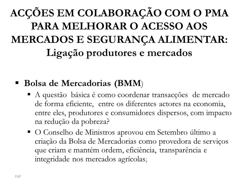 ACÇÕES EM COLABORAÇÃO COM O PMA PARA MELHORAR O ACESSO AOS MERCADOS E SEGURANÇA ALIMENTAR: Ligação produtores e mercados