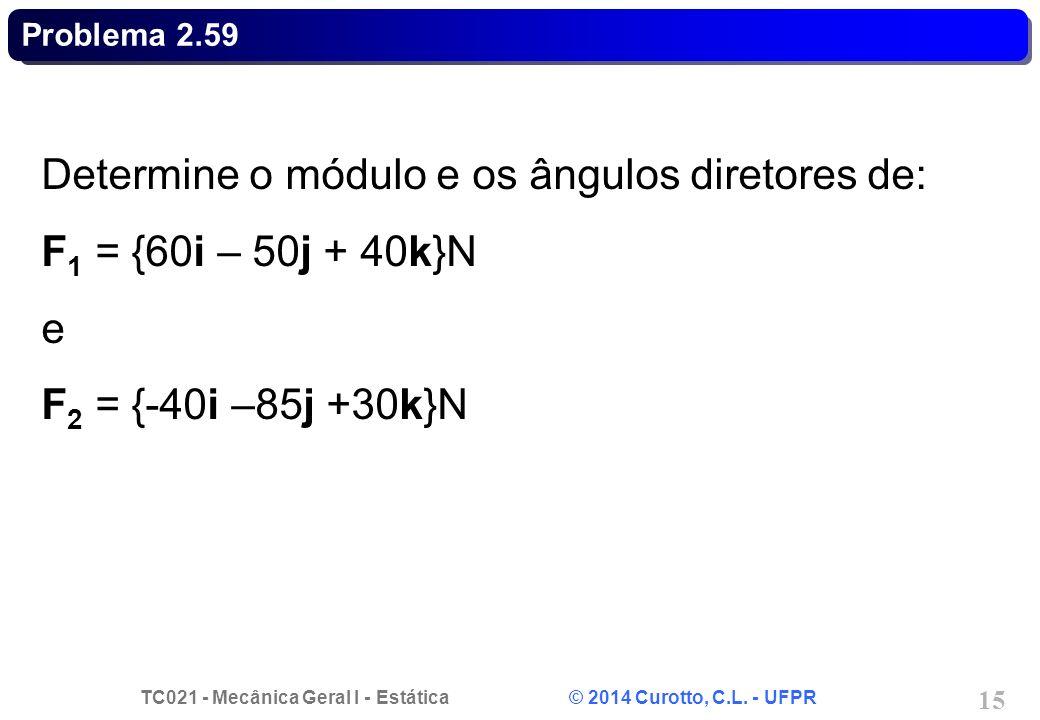 Determine o módulo e os ângulos diretores de: F1 = {60i – 50j + 40k}N
