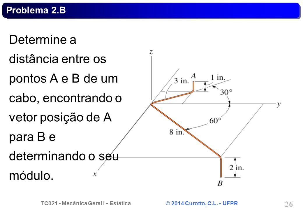 Problema 2.B Determine a distância entre os pontos A e B de um cabo, encontrando o vetor posição de A para B e determinando o seu módulo.