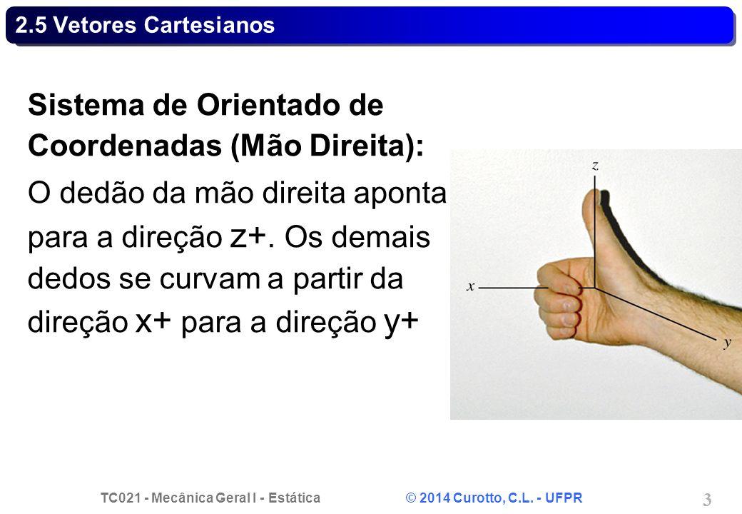 Sistema de Orientado de Coordenadas (Mão Direita):
