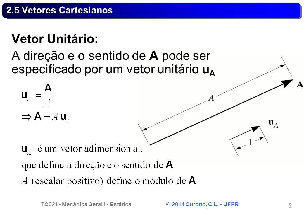 2.5 Vetores Cartesianos Vetor Unitário: A direção e o sentido de A pode ser especificado por um vetor unitário uA.