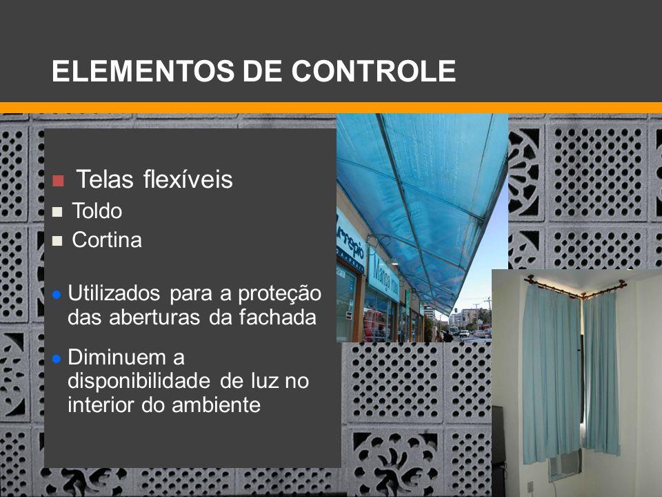 ELEMENTOS DE CONTROLE Telas flexíveis Toldo Cortina