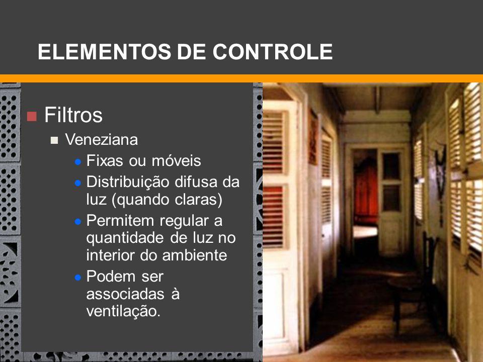 ELEMENTOS DE CONTROLE Filtros Veneziana Fixas ou móveis