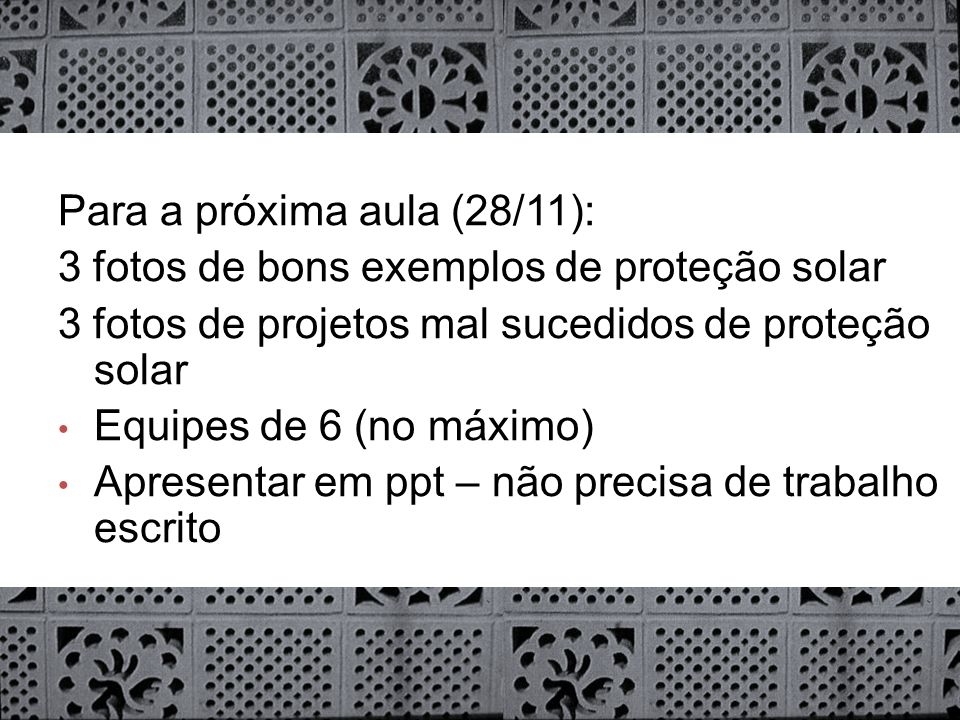 Para a próxima aula (28/11):
