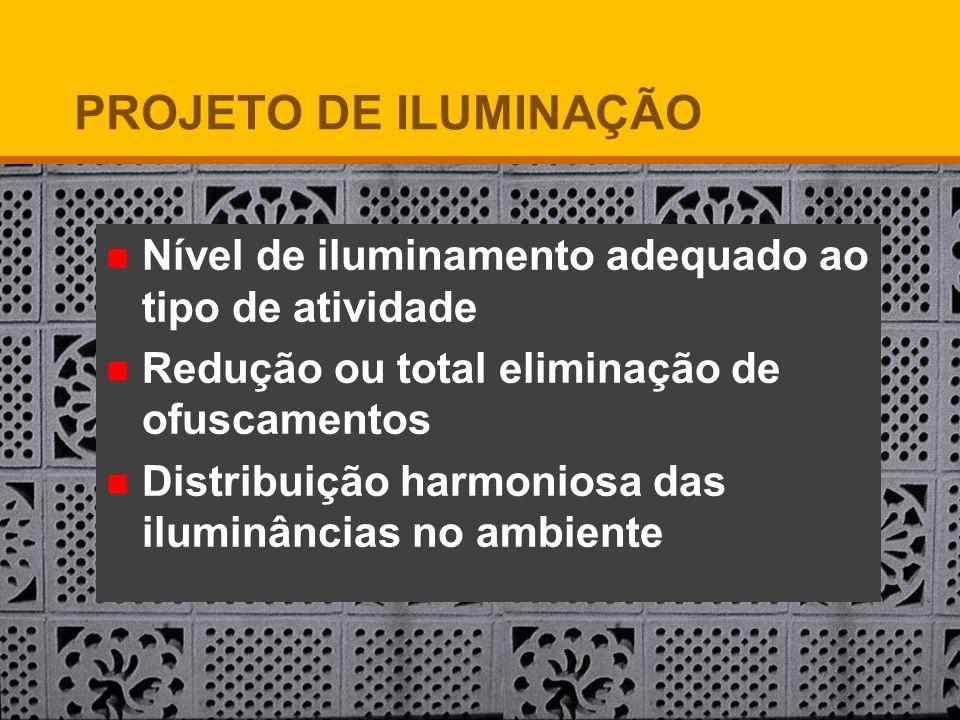 PROJETO DE ILUMINAÇÃO Nível de iluminamento adequado ao tipo de atividade. Redução ou total eliminação de ofuscamentos.