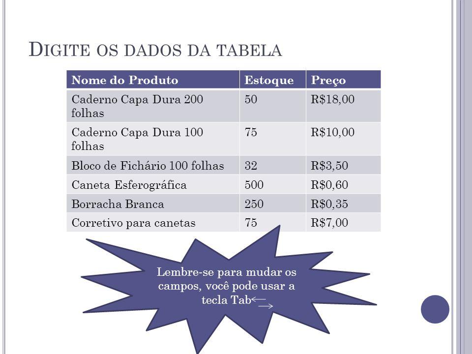 Digite os dados da tabela