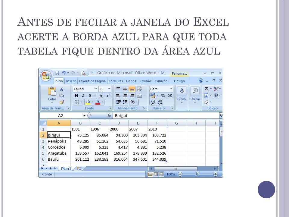 Antes de fechar a janela do Excel acerte a borda azul para que toda tabela fique dentro da área azul
