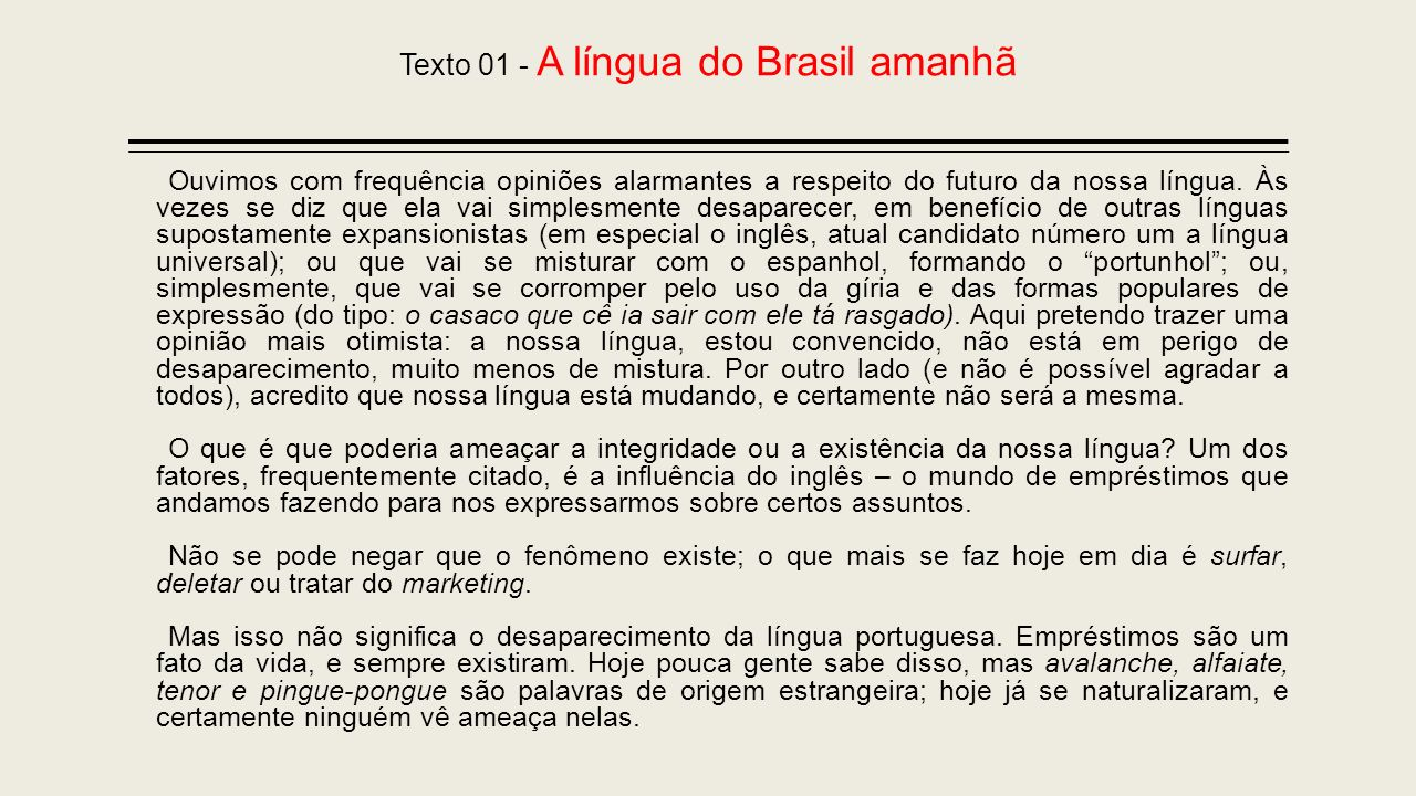 Texto 01 - A língua do Brasil amanhã
