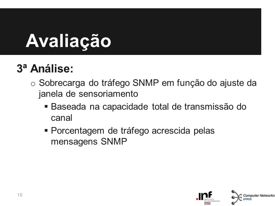 Avaliação 3ª Análise: Sobrecarga do tráfego SNMP em função do ajuste da janela de sensoriamento.