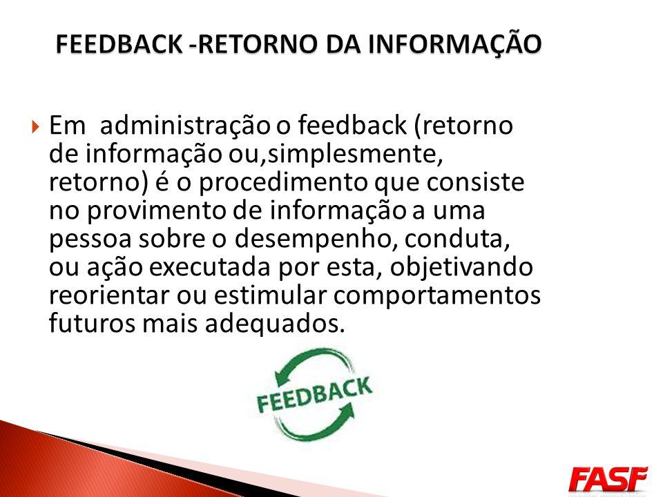 FEEDBACK -RETORNO DA INFORMAÇÃO