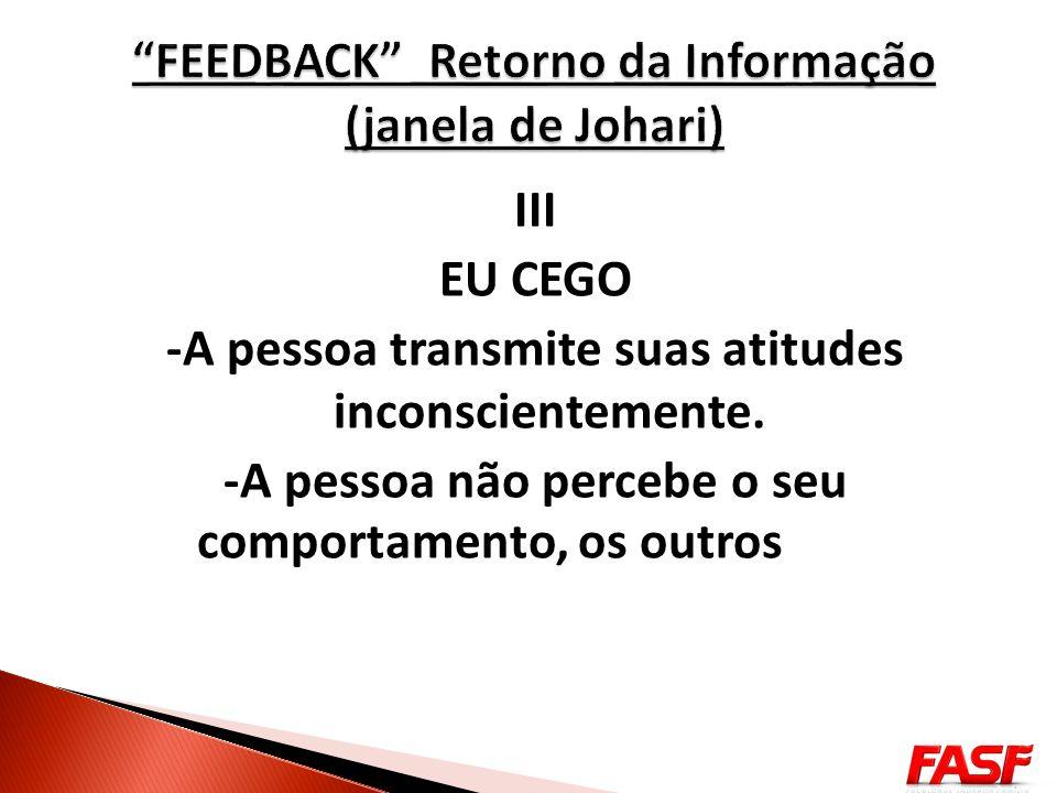 FEEDBACK Retorno da Informação (janela de Johari)