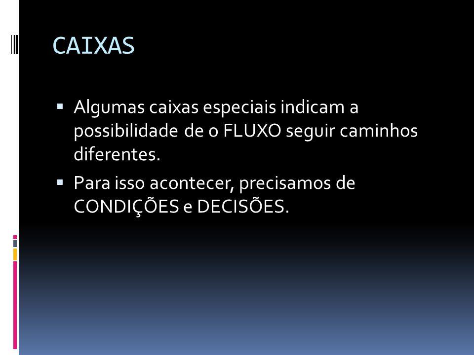 CAIXAS Algumas caixas especiais indicam a possibilidade de o FLUXO seguir caminhos diferentes.