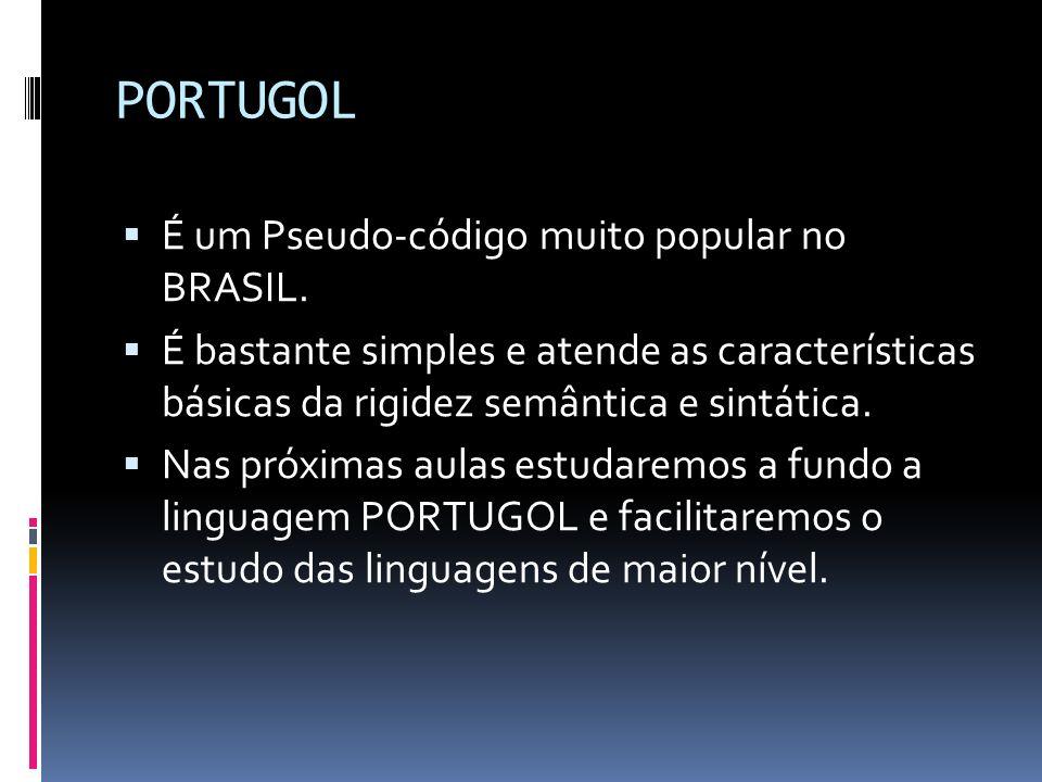 PORTUGOL É um Pseudo-código muito popular no BRASIL.