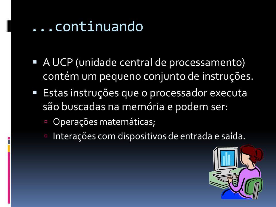 ...continuando A UCP (unidade central de processamento) contém um pequeno conjunto de instruções.