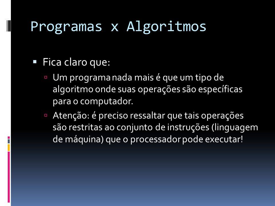 Programas x Algoritmos