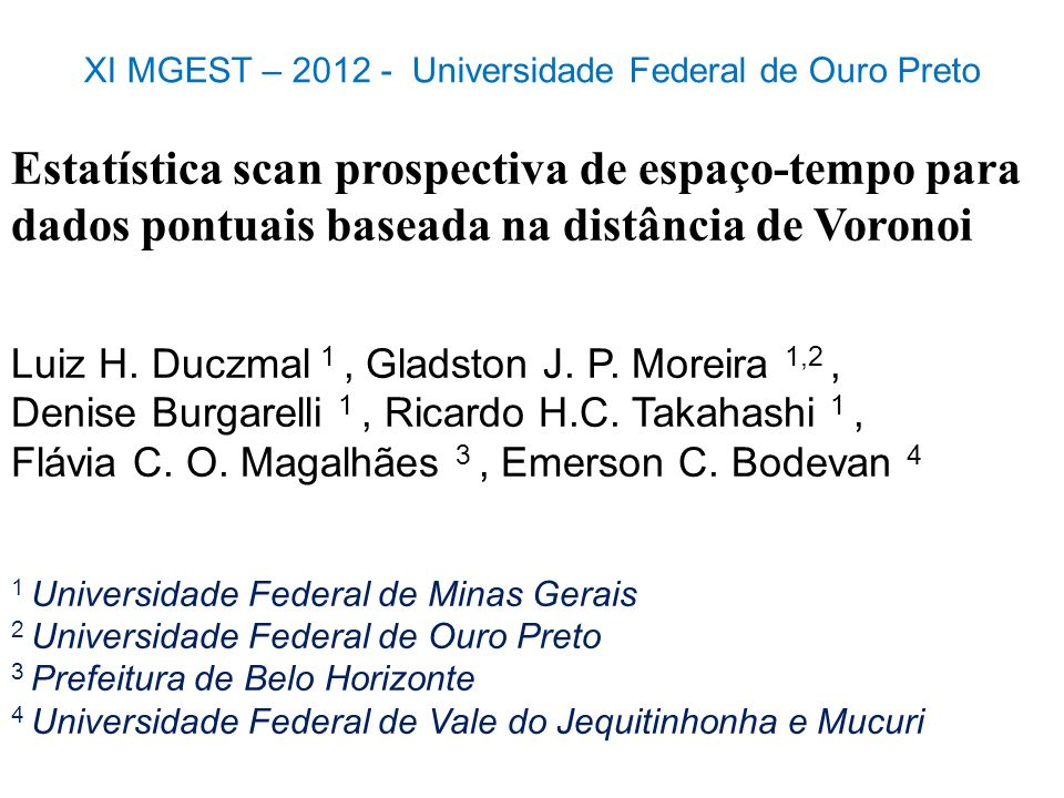 XI MGEST – 2012 - Universidade Federal de Ouro Preto