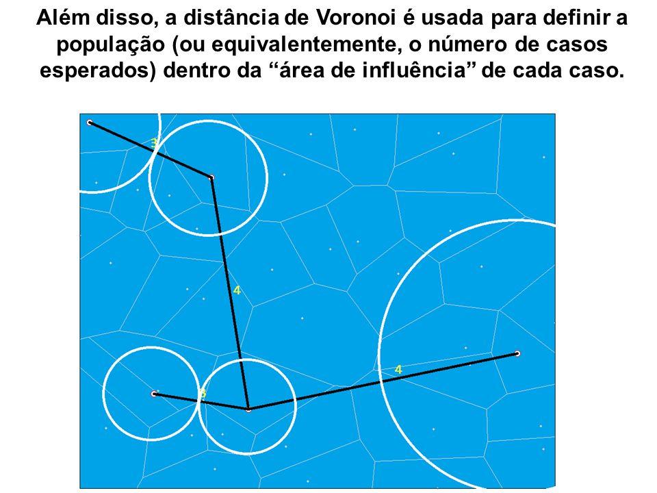Além disso, a distância de Voronoi é usada para definir a população (ou equivalentemente, o número de casos esperados) dentro da área de influência de cada caso.